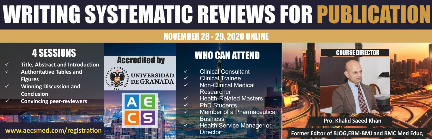 Web - Writing systematic reviews for publication November 28 - 29, 2020