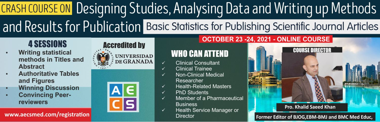 Crash Course on Designing Studies Analysing Data and Writing up Methods